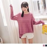 《FA2266-》日系點點坑條包芯紗針織長版毛衣/上衣 OB嚴選