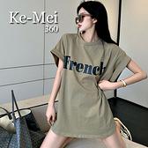 克妹Ke-Mei【ZT68909】FRENCH韓妞慵懶風撞色字母撞色純棉T恤上衣