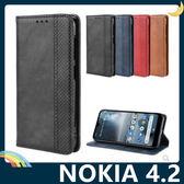 NOKIA 4.2 復古格紋保護套 磨砂皮質側翻皮套 隱形磁吸 支架 插卡 手機套 手機殼 諾基亞