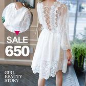 SISI【D7046】鏤空蕾絲雕花透視露背交叉綁帶鬆緊縮腰顯瘦長袖連身裙洋裝