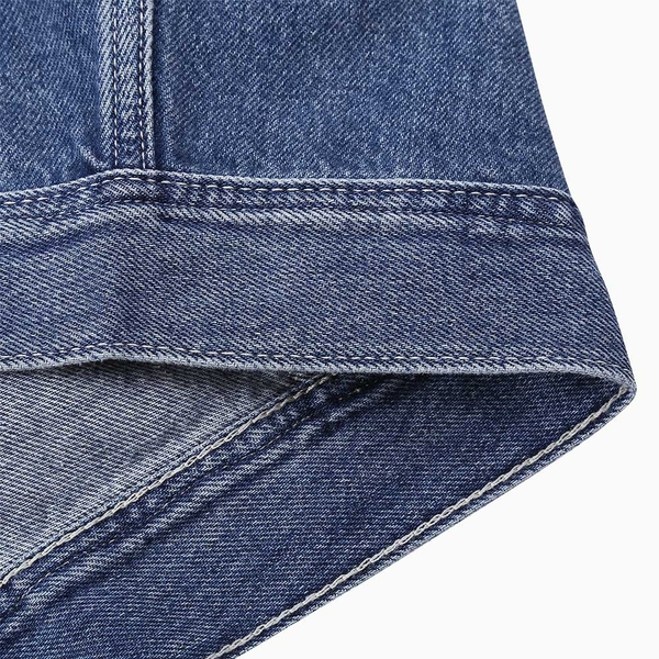 Levis Red 工裝手稿風復刻再造 女款 工裝牛仔外套 / Oversize寬鬆版型 / 中藍水洗 / 寒麻纖維