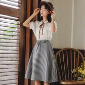 套裝格子半身裙女夏小清新雪紡兩件套甜美少女學生裙【全館88折~限時】