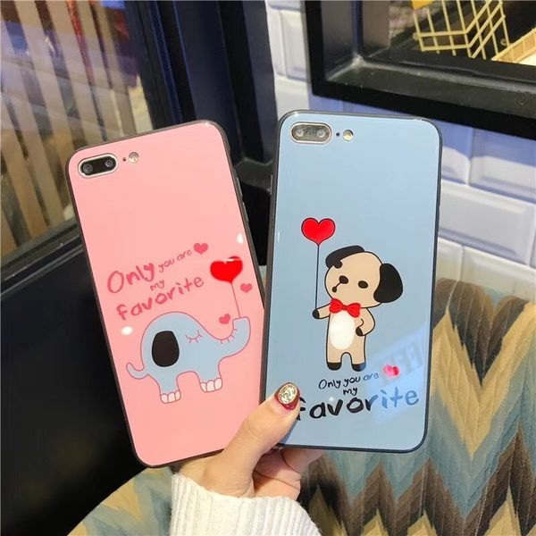 【SZ25】iphone 7/8 plus 手機殼 卡通愛心大象玻璃殼 i8 plus手機殼 iphone6手機殼 iphone X 手機殼