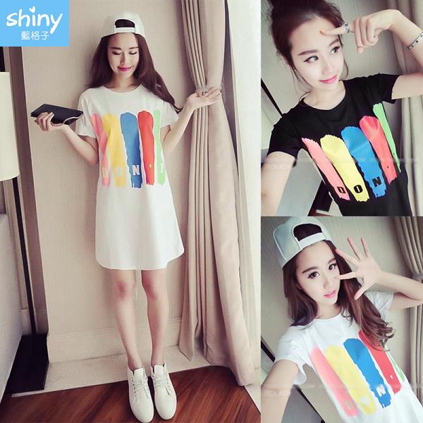 【V2885】shiny藍格子-簡單宣言.色彩字母印花圓領短袖連身裙