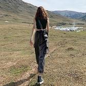 工裝褲女寬鬆夏薄款高腰束腳顯瘦直筒運動褲【小酒窩服飾】