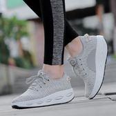 女鞋網面透氣墊厚底增高運動休閒坡跟單鞋跑步搖搖鞋