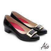 A.S.O 職場女力 真皮鏡面方形飾扣高跟鞋 黑