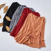 新款中大尺碼上衣胖mm全棉抽繩遮肚長袖中大尺碼針織內搭衫【715】