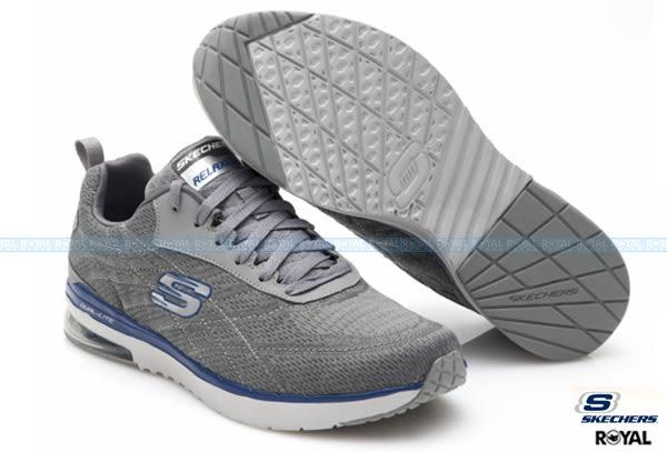 SKECHERS 新竹皇家 Skech Air 灰色 針織 網布 輕量 透氣 氣墊 運動鞋 男款 NO.A8303