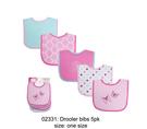 [Mamae](5件/組)Luvable Friends 男女童棉質毛巾布防水圍兜 蝴蝶小花兒童吃飯衣 嬰幼兒圍兜