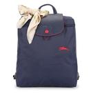 Longchamp 1699 LE PLIAGE 奔馬刺繡折疊尼龍後背包(海軍藍-含帕巾)480210-556