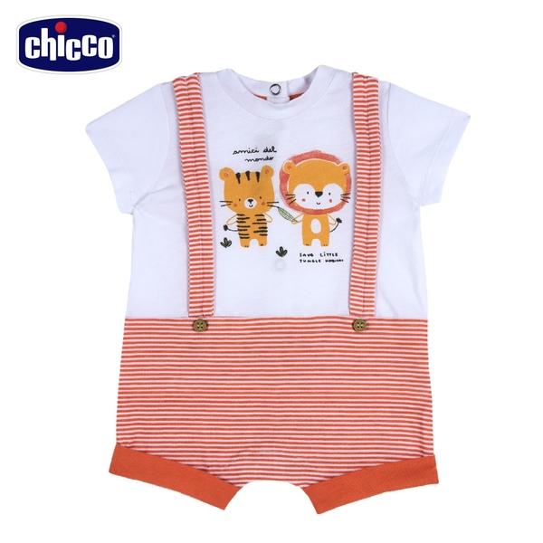 chicco-動物朋友-假兩件式吊帶條紋短袖兔裝