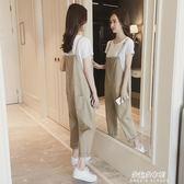 新款夏背帶褲韓版寬鬆森女繫bf原宿學生九分減齡女潮  朵拉朵衣櫥