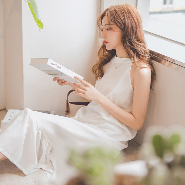 MUMU【O27216】小性感削肩連身長洋裝。白/綠