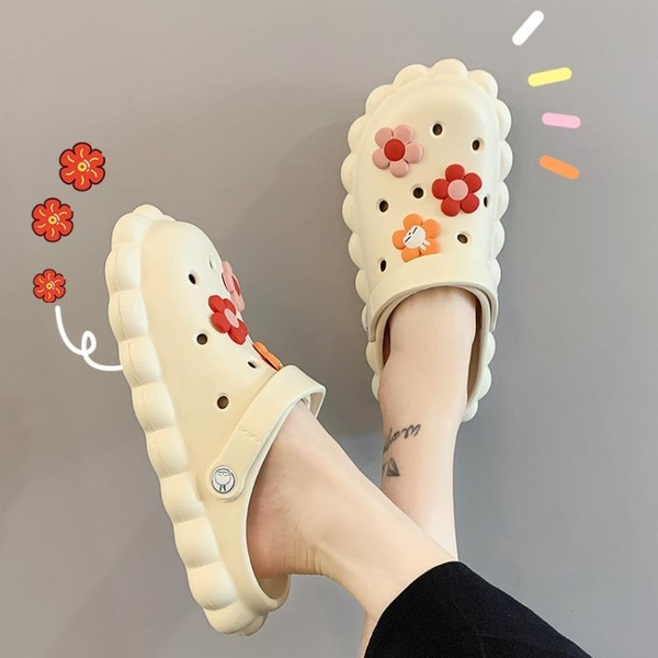 洞洞鞋女ins潮夏2021新款防滑外穿網紅爆款包頭半拖涼拖鞋女夏季 蘇菲小店