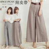 長褲 Space Picnic|高腰格紋腰打褶設計寬褲(現+預)【C18074035】