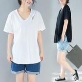 大碼T恤女胖妹妹洋氣寬鬆減齡遮肚子時髦休閒上衣2019春夏季新款 快速出貨