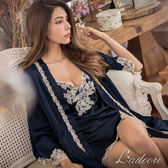 睡袍 Ladoore 薇奧莉塔 高質感絲緞睡袍(藍)