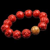 紅色朱砂雕刻手持羅漢男女情侶手串飾品開運佛珠手鏈 蜜拉貝爾