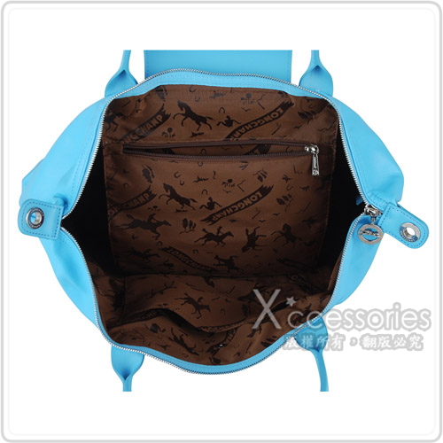 LONGCHAMP Le Pliage Cuir小羊皮系列手提/肩背包(中/天空藍)