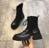 短靴女單靴新款網紅鞋黑色初秋馬丁百搭秋款瘦瘦靴秋 交換禮物