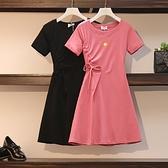 洋裝~夏裝新款大碼女裝微胖妹妹mm顯瘦遮肉T恤減齡洋氣連身裙3F086-A胖妹大碼女裝