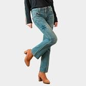 牛仔褲--不當小腹人!雙釦寬褲頭細長腿刷黃中腰小喇叭牛仔褲(牛仔藍S-7L)-N35眼圈熊中大尺碼◎