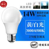 [TML]愛媛家居E27 14W LED燈泡2入 白光/黃光14W白光燈泡2入
