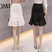 魚尾裙高腰黑色半身裙春裝蕾絲中長款荷葉邊a字包臀裙女