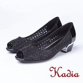 kadia.華麗水鑽鏤空造型魚口鞋(8505-95黑色)