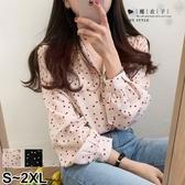 【QV3048】魔衣子-復古排扣V領圓點燈籠袖襯衫