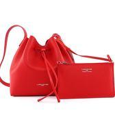 【LANCASTER】防刮牛皮側背水桶包(大)(紅色)422-19 ROUGE