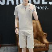 運動服男士直筒短褲休閒運動褲子套裝男生夏季短褲韓版修身潮流T恤 衣櫥秘密