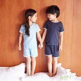 兒童睡衣兒童家居服棉冷氣服女童短袖睡衣