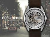 【時間道 】KENNETH COLE 俐落型男機械鏤空腕錶/銀面深棕皮(KC50064002)免運費