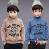 男童刷毛衛衣2018新款兒童保暖加厚上衣冬季中大童半高領洋氣潮衣