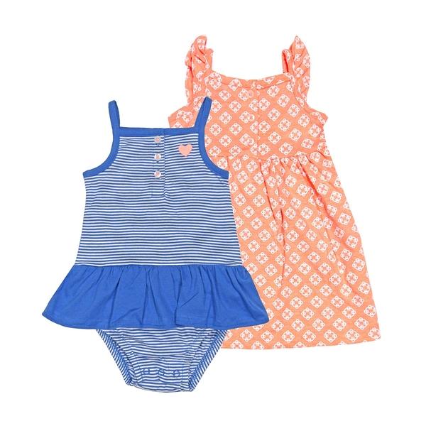 女寶寶洋裝套裝三件組 無袖細肩帶裙子+裙擺兔裝+內褲 藍橫條 | Carter s卡特童裝 (嬰幼兒)