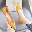 韓版尖頭平底鞋淺口單鞋女2020夏新款飛織布鞋網布透氣潮流女鞋 yu13341【棉花糖伊人】