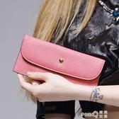 KIMO 新款歐美時尚潮流愛心印花薄款翻蓋牛皮女士長款錢包錢夾  (pink Q 時尚女裝)