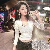 假兩件上衣服 韓版低胸綁帶緊身高腰短款體恤長袖 米蘭shoe