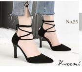 尖頭高跟涼鞋 蘿莉風馬甲綁帶尖頭細跟 晚宴鞋 新娘鞋*Kwoomi-A91