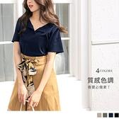 《AB12146-》高含棉半開襟排釦純色短袖上衣 OB嚴選