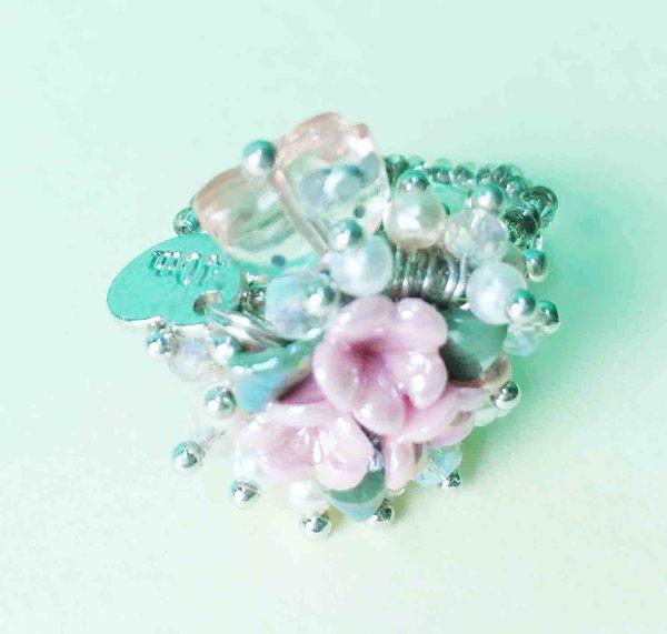【震撼精品百貨】Hello Kitty 凱蒂貓~戒指-粉玫瑰L