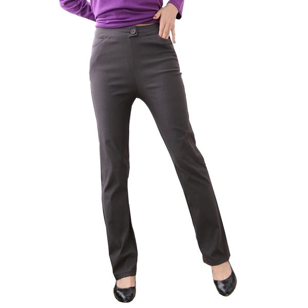 西裝褲--對抗寒冬素面中腰內刷毛小喇叭西裝褲(黑.灰M-7L)-P20眼圈熊中大尺碼
