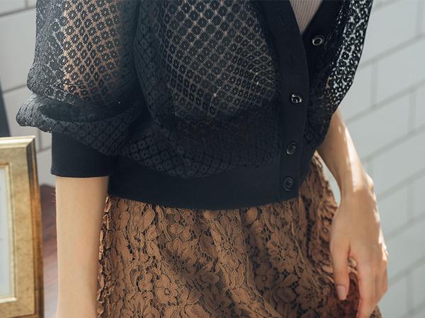 秋冬下殺↘5折[H2O]前後V領網狀蕾絲長袖外套 - 黑/白色 #9653002