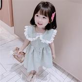 女童大翻領格子洋裝3歲2021新款韓版4夏裝寶寶洋氣無袖公主裙潮 幸福第一站