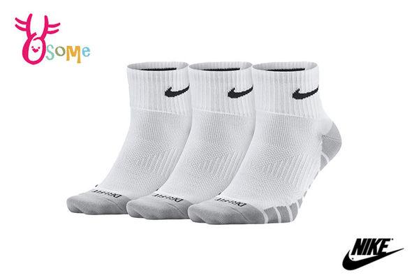 NIKE襪子 薄襪 1/4運動襪 (三雙入) 快速排汗 SX308#白灰◆OSOME奧森童鞋