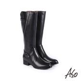 A.S.O 簡約線條 細緻質感壓紋真皮長靴