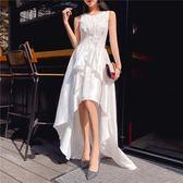 晚禮服 冬裝新品名媛氣質無袖背心收腰前短後長中長宴會晚禮服連身裙 均碼