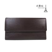 【巴黎站二手名牌專賣店】*現貨*LV 路易威登 真品*經典水波紋EPI咖啡色皮革釦式長夾
